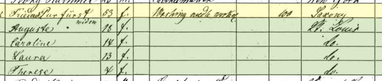 Friedricke Puerfurst 1860 census St. Louis MO