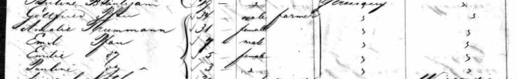 Gottfried Pfau family Magdalene passenger list 1859