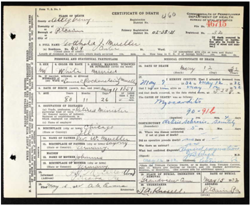Gotthold Mueller death certificate PA