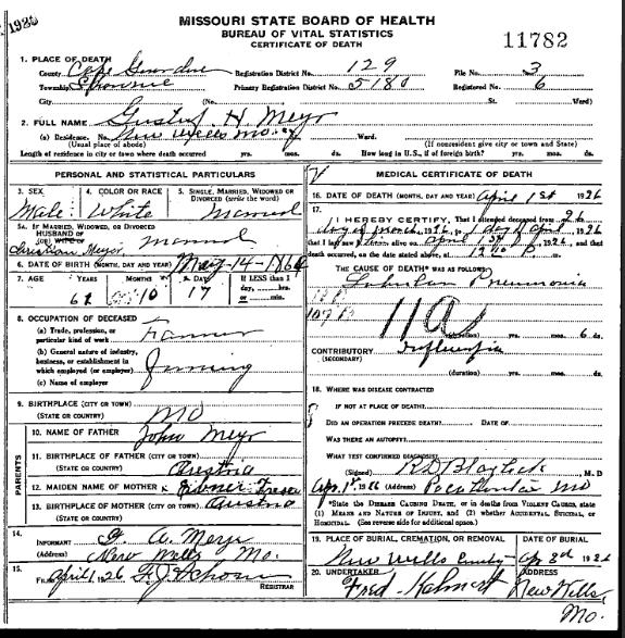 Gustav H Meyr death certificate