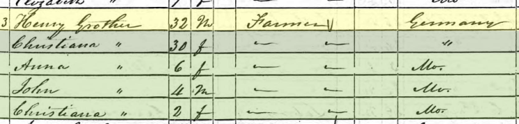 Heinrich Grother 1850 census Brazeau Township MO