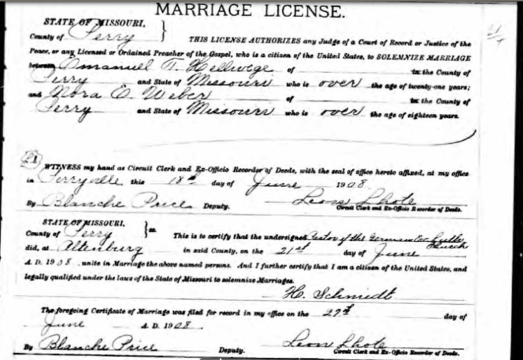 Hellwege Weber marriage license