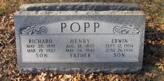 Henry Erwin and Richard Popp gravestone Concordia St. Louis MO