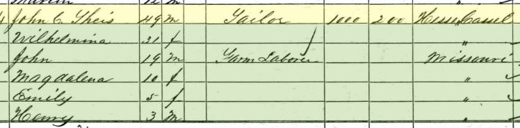 Henry Theiss 1860 census Brazeau Township MO