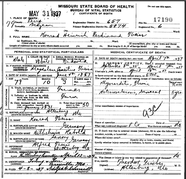 Henry Theiss death certificate