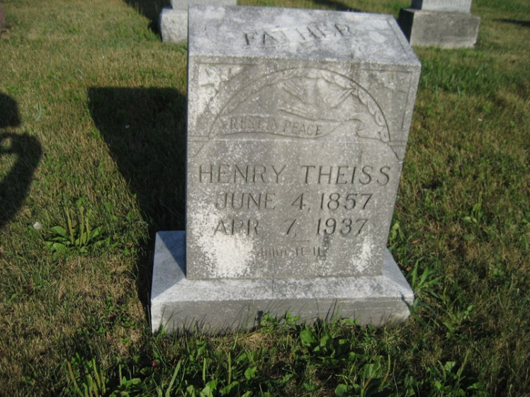 Henry Theiss gravestone St. Paul's Wittenberg MO