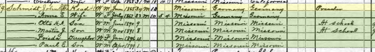 John Schmidt 1900 census Carrollton MO