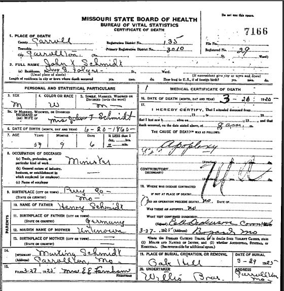 John Schmidt death certificate