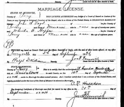John Vogel Martha Hopfer marriage license