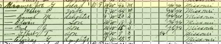 Joseph Kramer 1920 census Brazeau Township MO