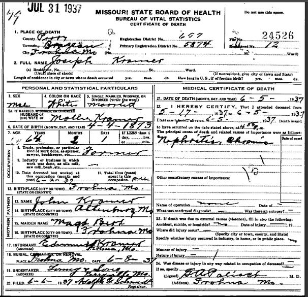 Joseph Kramer death certificate