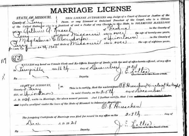 Kassel Oberndorfer marriage license