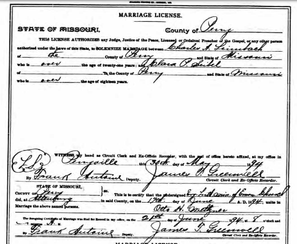 Leimbach Seibel marriage license