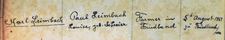 Leimbach Seibel marriage record 1 Immanuel Altenburg MO