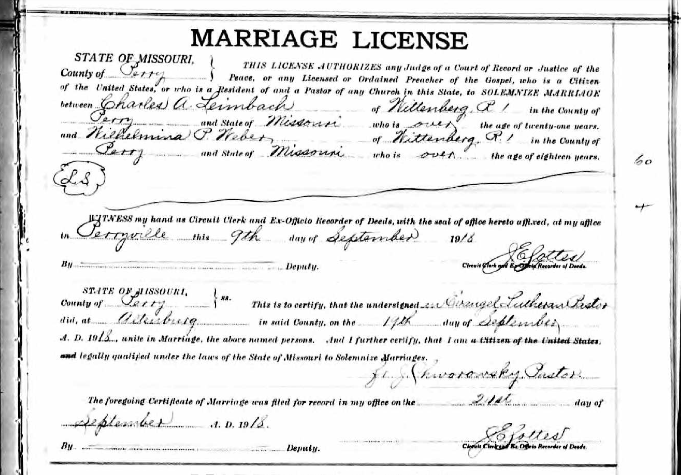 Leimbach Weber marriage license