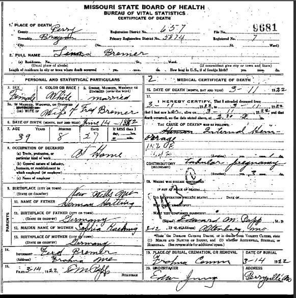 Lina Bremer death certificate