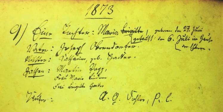 Marie Oberndorfer baptism record Immanuel Altenburg MO