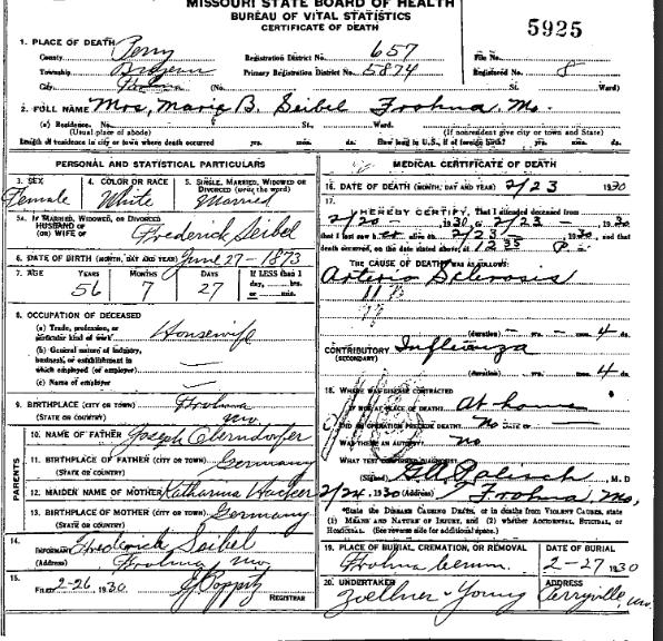 Marie Seibel death certificate