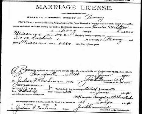Militzer Lueders marriage license