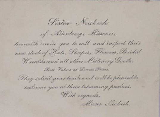 Misses Neubeck promotional invitation