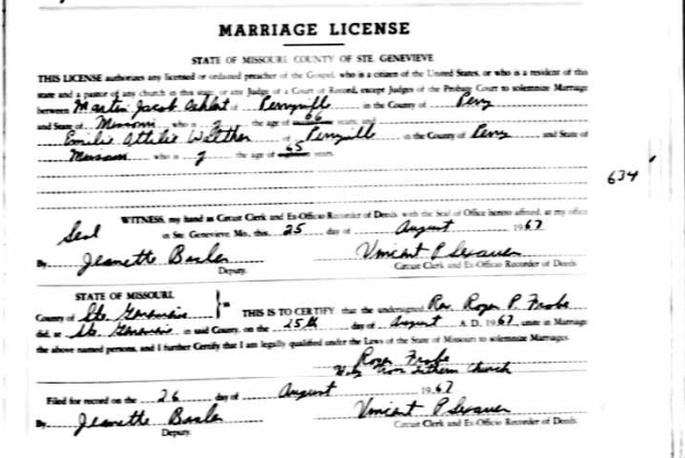 Oehlert Walther marriage license