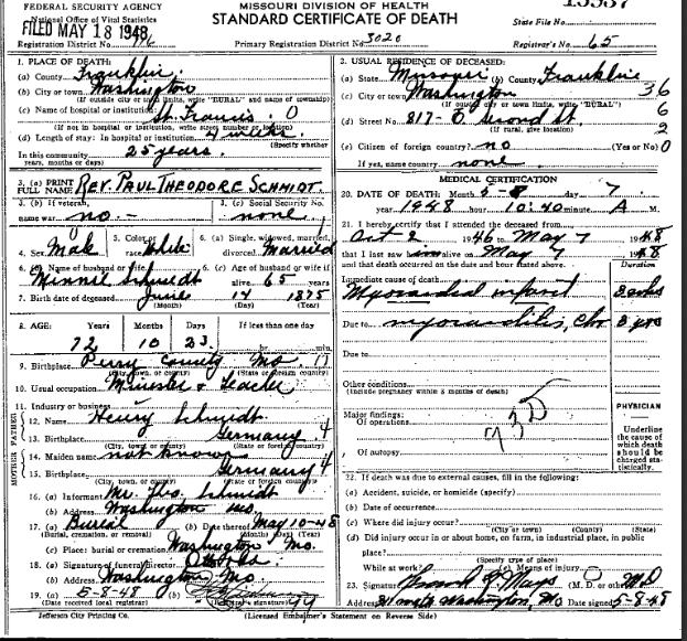 Paul T. Schmidt death certificate