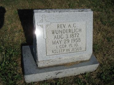 Rev. August Wunderlich gravestone Trinity Altenburg MO