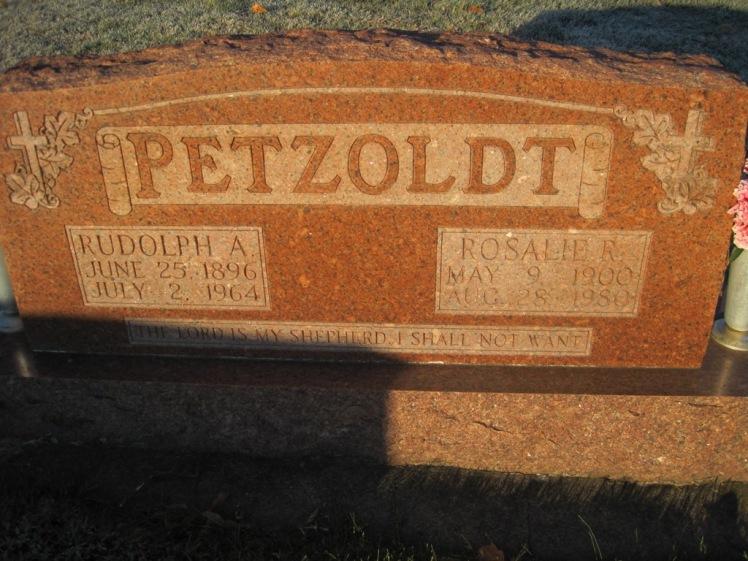 Rudolph and Rosalie Petzoldt gravestone St. John's Pocahontas MO