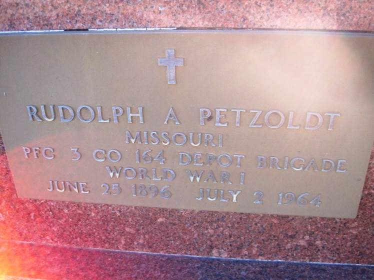 Rudolph Petzoldt gravestone plaque WWI service St. John's Pocahontas MO