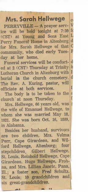Sarah Hellwege obituary