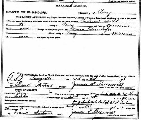 Seibel Oberndorfer marriage license