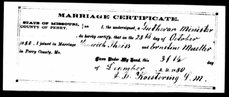 Theiss Mueller marriage record - Perry County MO