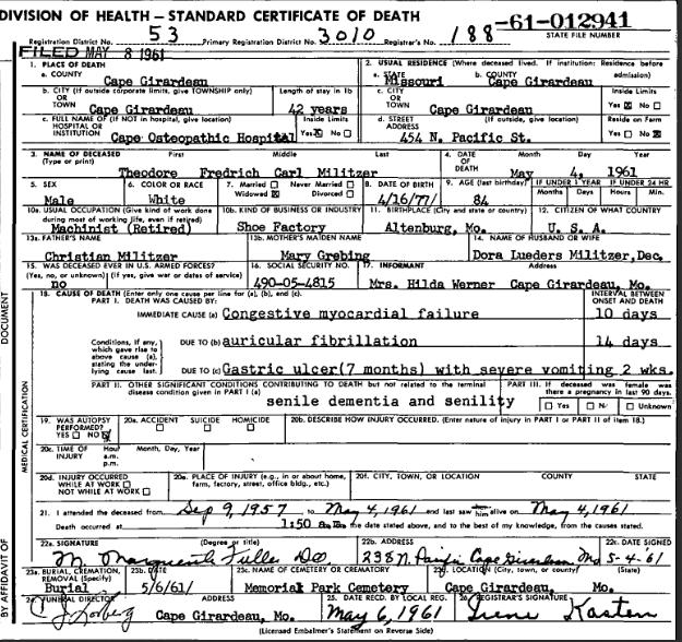 Theodore Militzer death certificate