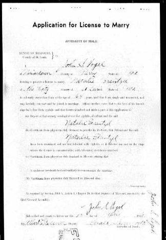 Vogel Frentzel marriage license St. Louis MO