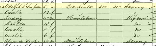 Adolph Schuppan 1860 census Brazeau Township MO