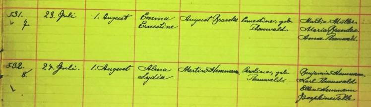 Alma Hemmann baptism record Grace Uniontown MO