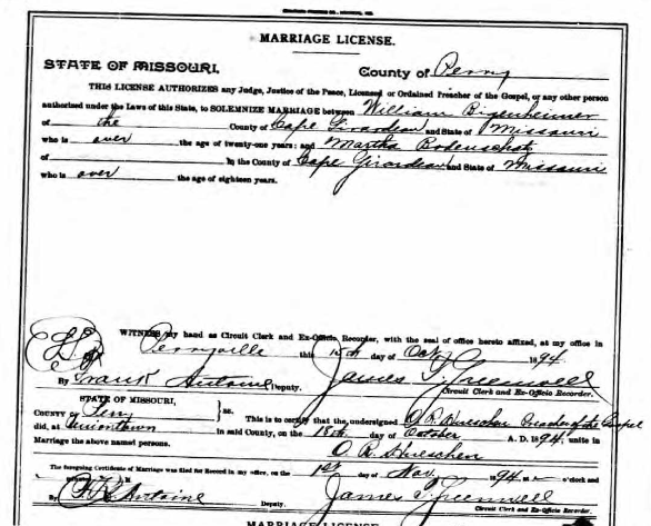 Bingenheimer Bodenschatz marriage license