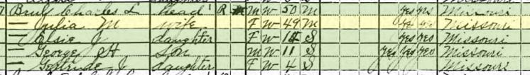 Charles Bruhl 1920 census Brazeau Township MO