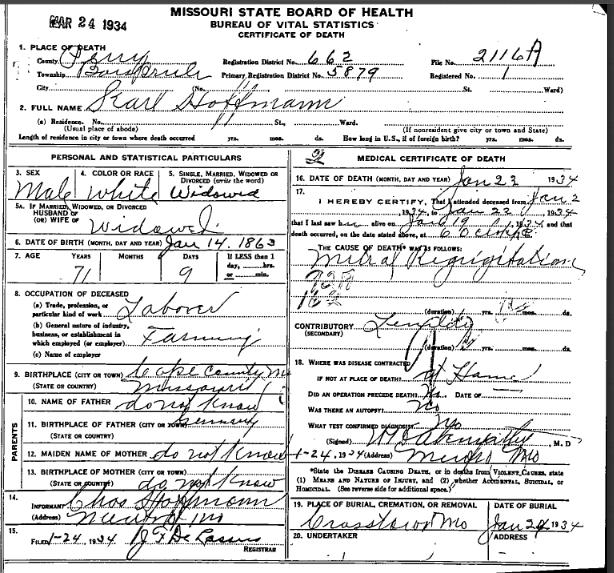 Charles Hoffmann death certificate