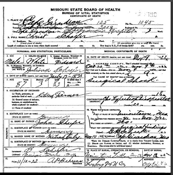 Christian Schaefer death certificate