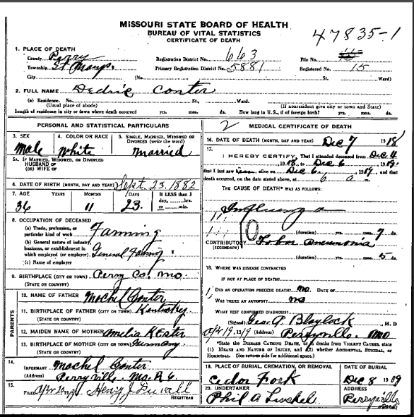 Dietrich Canter death certificate