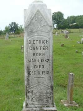 Dietrich Canter gravestone Cedar Creek Perry County MO