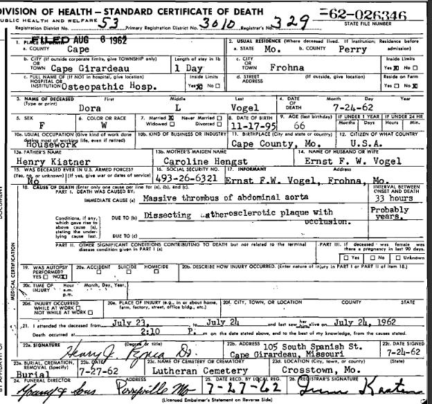 Dora Vogel death certificate