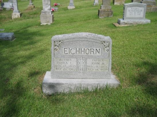 Dora Vogel Eichorn gravestone Zion Crosstown MO