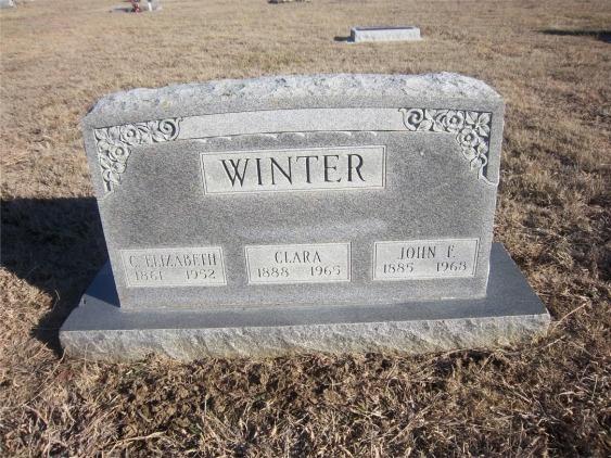 Elizabeth Clara and John Winter gravestone Fairland OK