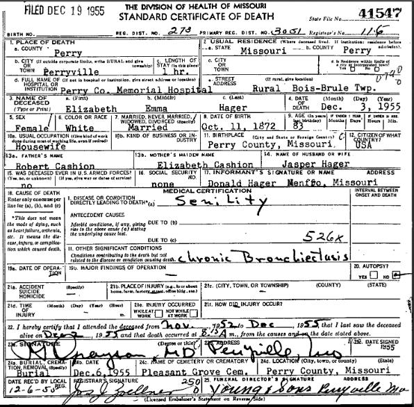 Elizabeth Emma Hager death certificate
