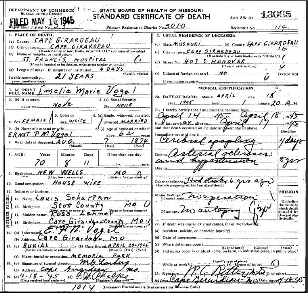 Emilie Vogel death certificate