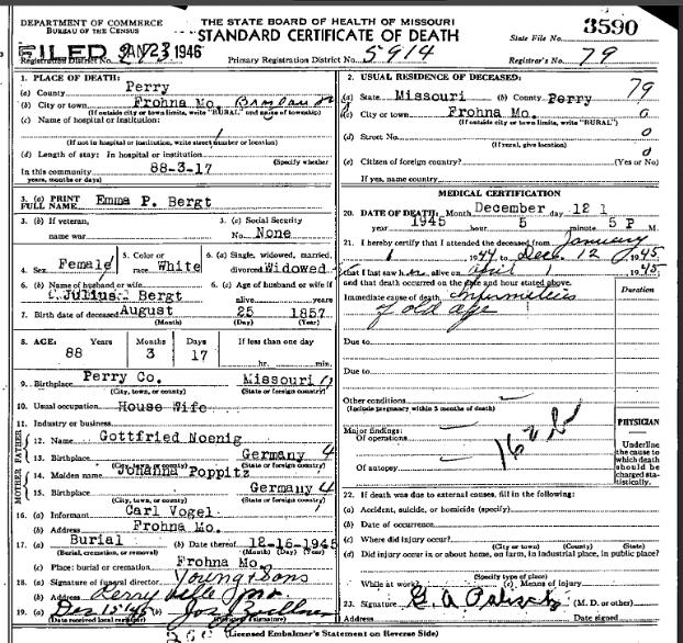 Emma Bergt death certificate