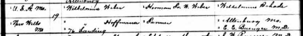 Emma Caroline Weber birth record 2 Perry County MO
