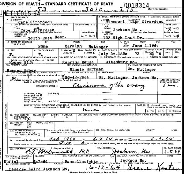 Emma Hutteger death certificate
